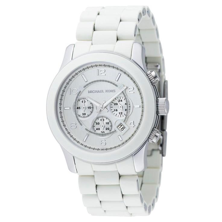 Michael Kors Watch, Men\u0027s Chronograph Runway White Polyurethane and  Stainless Steel Bracelet - All Watches - Jewelry \u0026 Watches - Macy\u0027s