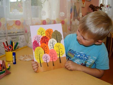 Аппликация в смешанной технике «Осень в лесу» (обрывание с элементами рисования) - Для воспитателей детских садов - Мааам.ру