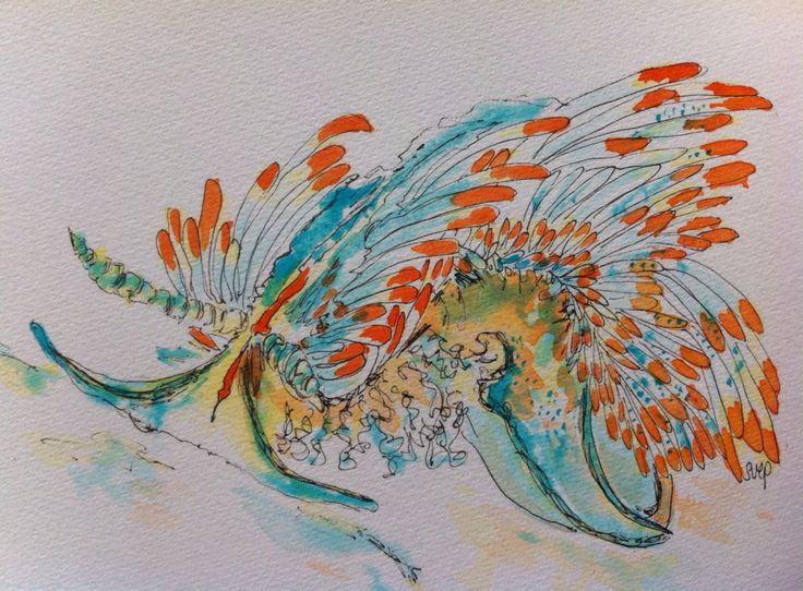 """""""Fiery Nudibranch"""" - original pen and watercolour painting. For sale unframed 21cm x 15cm. To see more of my marine artworks and science stories follow me as Dr Suzie Starfish on Facebook."""