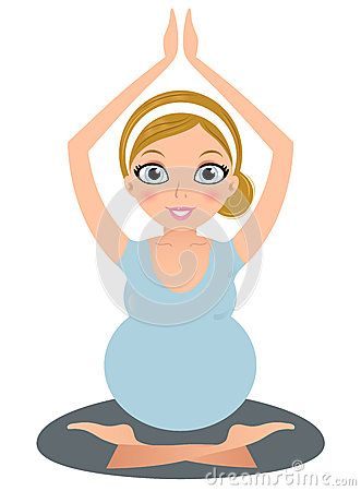 Preggy Yoga Woman practicing asana. Vector Illustration