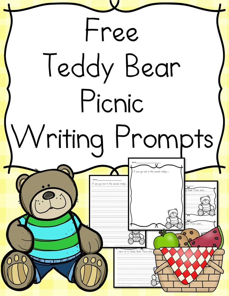 Preschool, Kindergarten or First grade activity -Free Teddy Bear Writing Prompts!  Today is the day the Teddy Bears have their picnic...afterwards, here are a few  writing prompts to do!   via @sightsoundread