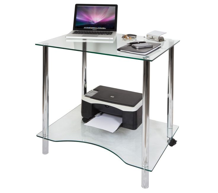 Crystal glass workstation with a chrome finish