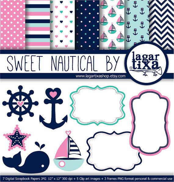 Digital Paper Navy Nautical Pink Teal Marine Turquoise Girly Background Blue marine chevron starfish stripes patterns boat anchors sailor