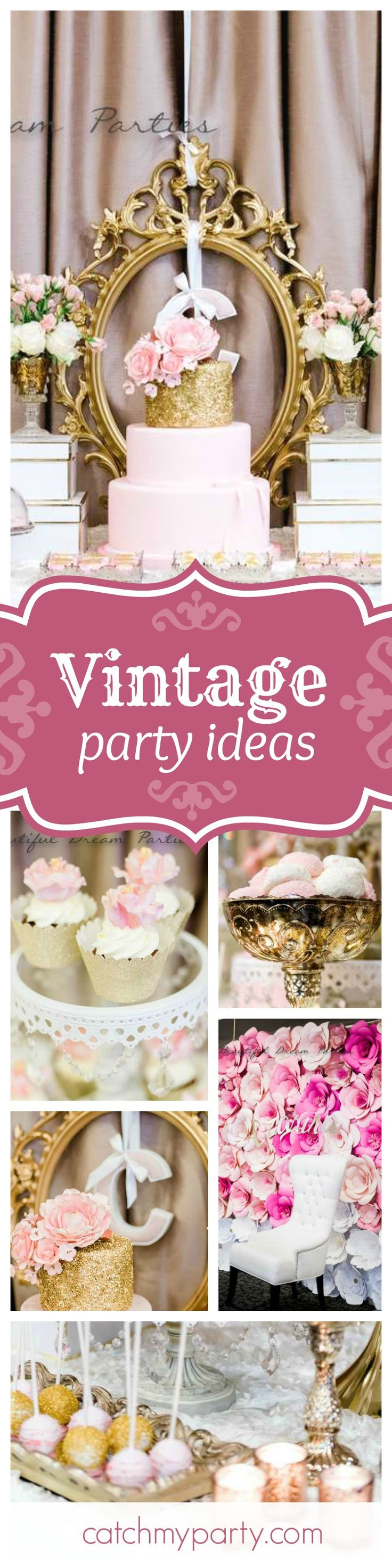 You are going to love this vintage elegant pink & gold birthday party. The birthday cake is stunning!! See more party ideas and share yours at CatchMyParty.com