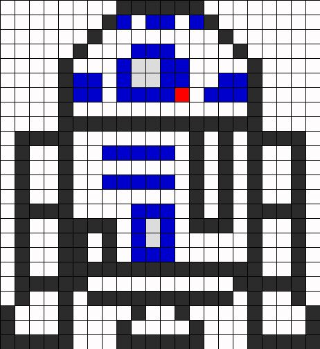 R2 D2 Perler Perler Bead Pattern | Perler Bead Patterns | Characters Fuse Bead Patterns