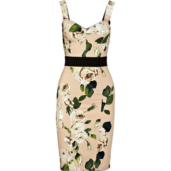 Dolce & Gabbana Rose-print crepe bustier dress (670 BAM) ❤ liked on Polyvore featuring dresses, vestidos, floral, short dresses, antique rose, beige short dress, beige dress, floral mini dress, floral bustier and bustier dress