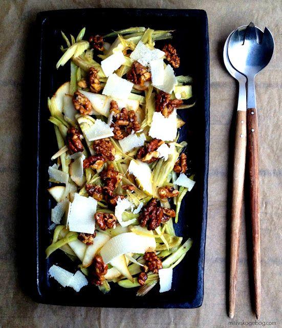 Salat med ristet fennikel, pærer & sprøde valnødder - Mit livs kogebog...