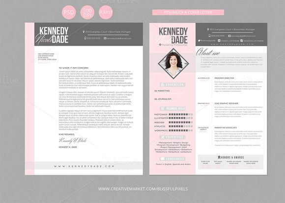 Check out Resume CV & Cover Letter Template by Blissful Pixels on Creative Market