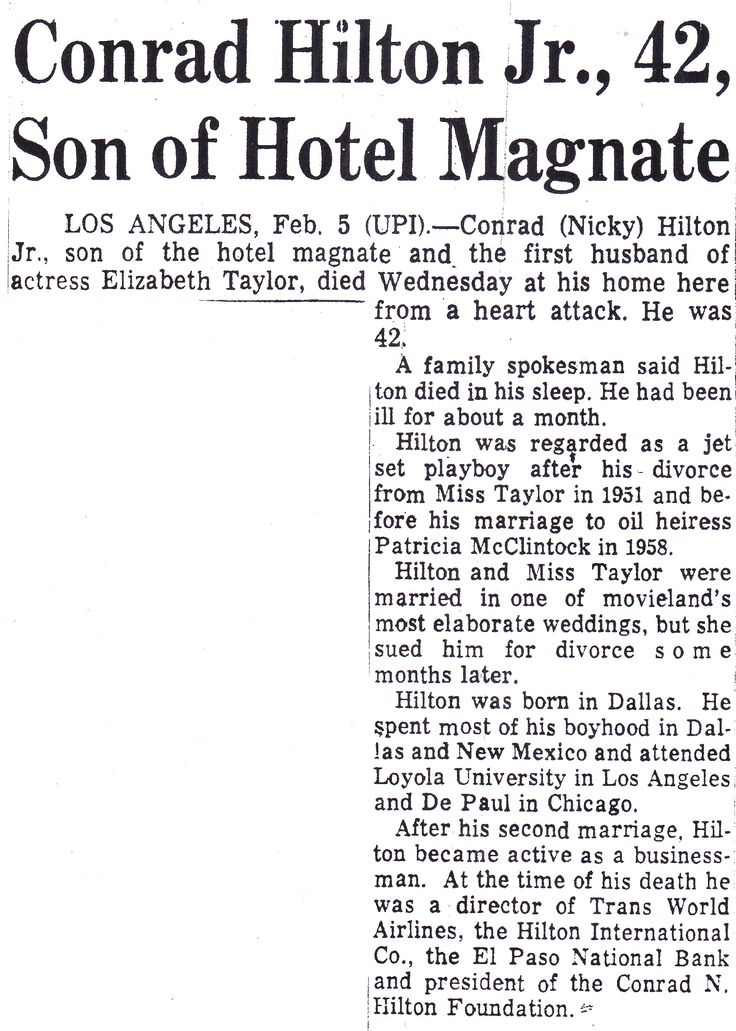 Obituary for Conrad Hilton, Jr.  From The Philadelphia Inquirer; Thursday morning, February 6th, 1969, Page 26.