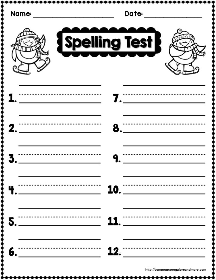 Freebie winter themed spelling test template beth for Multiple choice spelling test template
