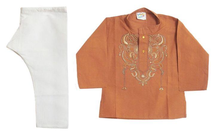 Embroidered Rust Brown Cotton Kurta