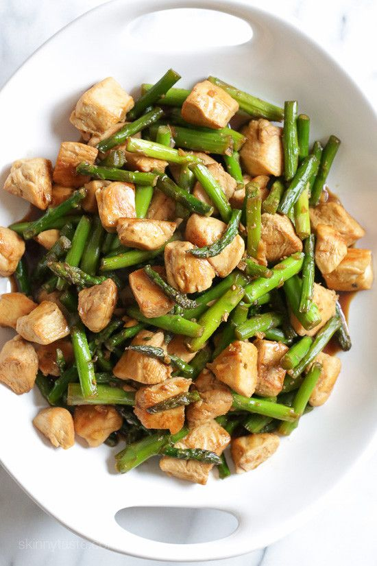 Spring is in the air and asparagus is season, which means I'll be eating is as often as I can, it's one of my Spring favorites!    I shared a this stir-fry last year similar to this in one, only in a light lemon sauce and it's been so popular, I thought I would create something similar, with a different sauce. I just love a stir-fry that uses only one protein and one vegetable, perfect for a quick weeknight dish.    March goals for me are to work out every day, and to eat less carbs this…