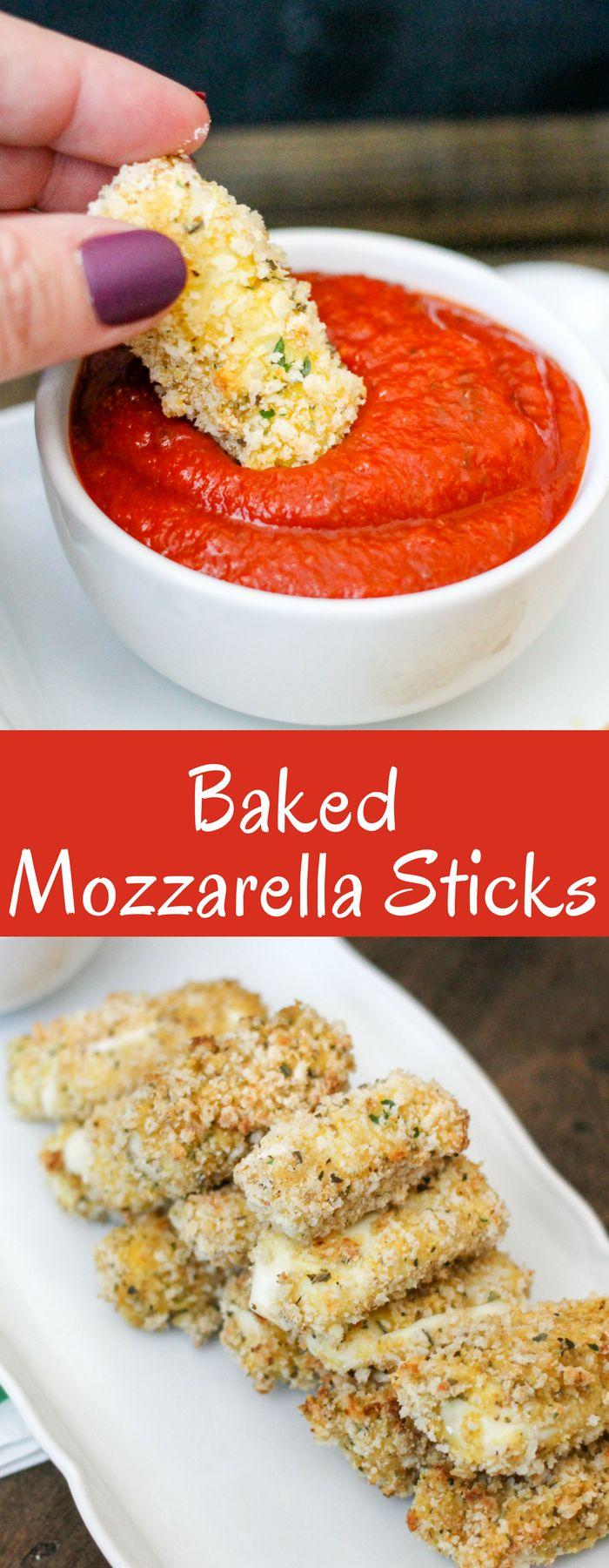 A healthier take on traditional fried mozzarella sticks, these Baked Mozzarella sticks are easy to make, crispy, and delicious!