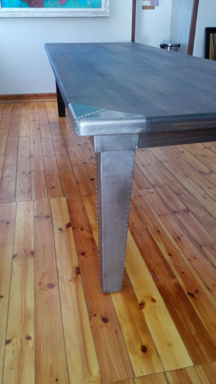 Dining Room Table With Lead Covered Legs And Corners. Seats 12. Custom Made  Furniture