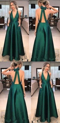 c5813406bd6 Green Satin V-neck Long A-line Prom Dresses