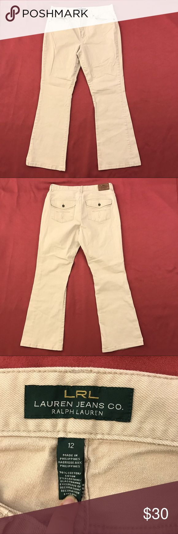 """Bootcut Beige Chino Pants 🦋 30"""" Inseam Lauren By Ralph Lauren Pants  Women's Size: 12  Gently used with no flaws.  98% Cotton 2% Elastane  Measurements lying flat: Waist 18"""", Hips 22"""", Inseam 30.5"""", Front Rise 12"""", Back Rise 15"""".  Please, review pictures. You will get the item shown. Smoke & pet free home. Lauren Ralph Lauren Pants Boot Cut & Flare"""