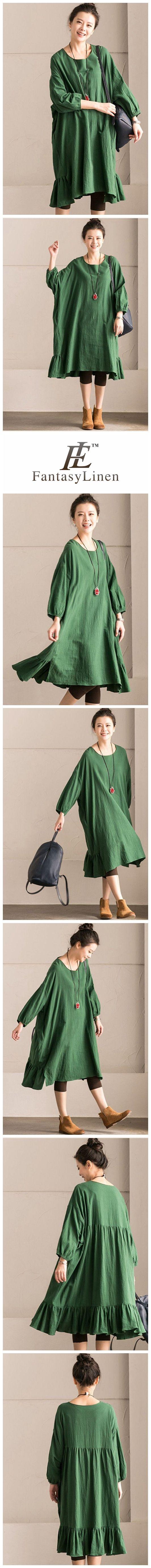 Green Korean Style Cotton Linen Falbala Bat Sleeve Round Neck Loose Women Clothes Q8300B Q8300BGreen