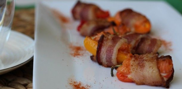 Bacon Wrapped Smoked Salmon Stuffed Sweet Peppers