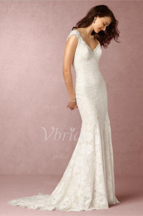 Wedding Dresses - $204.30 - Trumpet/Mermaid V-neck Court Train Lace Wedding Dress (0025117330)
