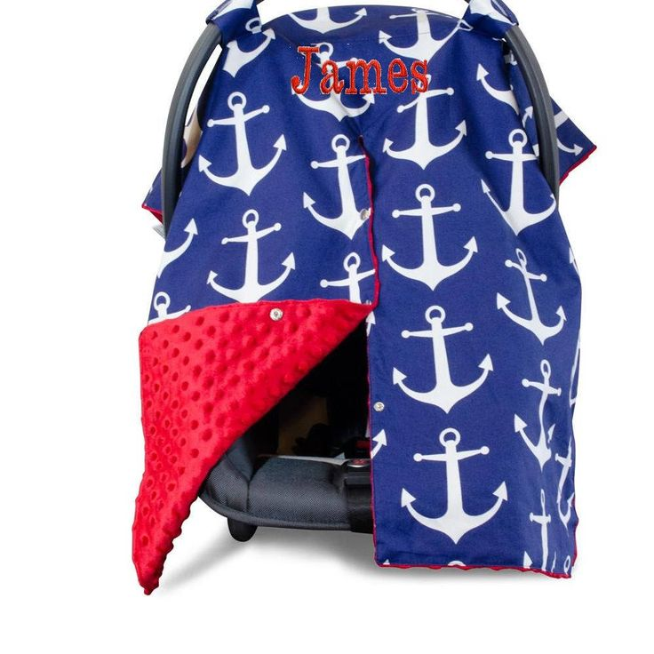 Nautical Car Seat Canopy Embroidered car seat canopy Car Seat Cover, Infant Car Seat Canopy Personalized baby car seat canopy by BabiesandPuppiesToo on Etsy