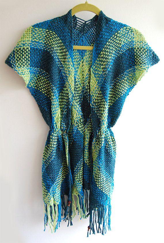 Blue and green tartan kimono sweater by Ullvuna on Etsy