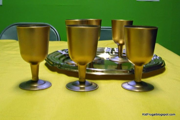 DIY tutorial for making gold goblets and a hand for the writing on the wall story in Daniel.