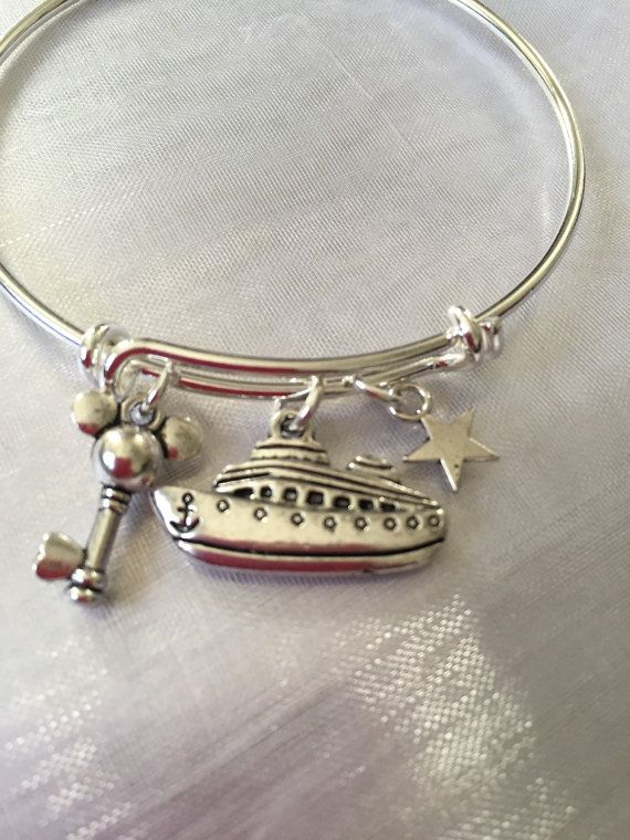 Disney Cruise Mickey Bracelet with ship and mickey mouse key from Disney cruise disneyland disney world Disney Paris-Alex and Ani inspired