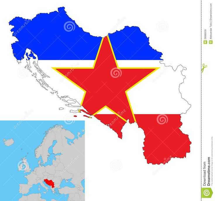 Yugoslavia People | Vector illustration of Yugoslavia map with flag inside.