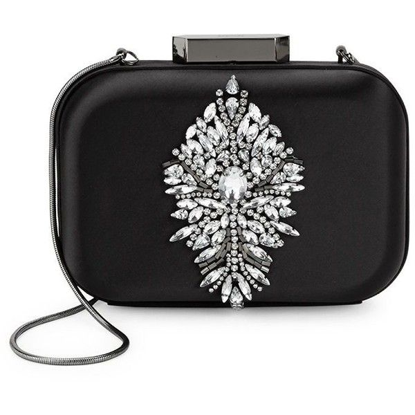 Badgley Mischka Disk Crystal-Embellished Satin Clutch ($120) ❤ liked on Polyvore featuring bags, handbags, clutches, man bag, nude handbags, shoulder strap handbags, handbag purse and nude clutches