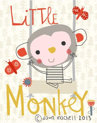 pop-i-cok . dawn machell . { little monkey . super cute illustration . for chinese new year . 2016 . & . the year of the mOnkey } .