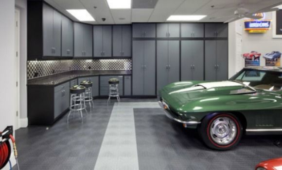 RaceDeck interlocking garage floor tiles with a nice Corvette.  Who wouldn't want that for their garage?