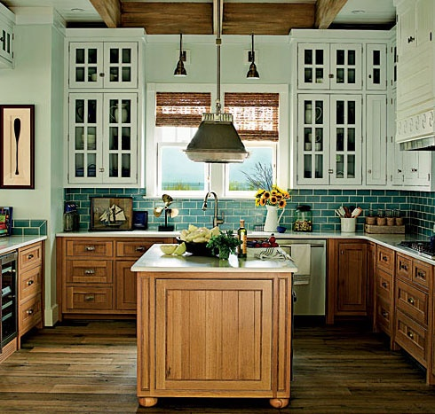 Two Tone Oak Cabinets Kitchen Pinterest Teal Kitchen