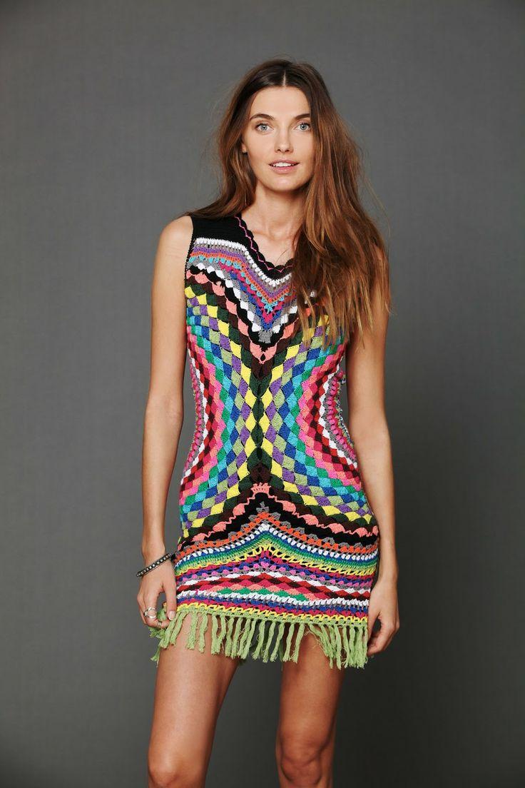 Crochetemoda: Crochet - Vestido Colorido III
