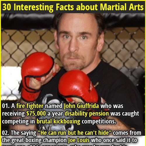 1. A fire fighter named John Giuffrida who was receiving $75,000 a year disability pension was caught competing in brutal kickboxing competitions. 2.John L. Sullivan, the fighter from the overly manly man meme, fought in a bare-knuckle boxing match that lasted 75 rounds before he won.