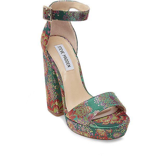 Steve Madden Jasmine Platform Sandals (€87) ❤ liked on Polyvore featuring shoes, sandals, floral multi, platform shoes, steve madden sandals, floral sandals, high heel platform sandals and black high heel shoes