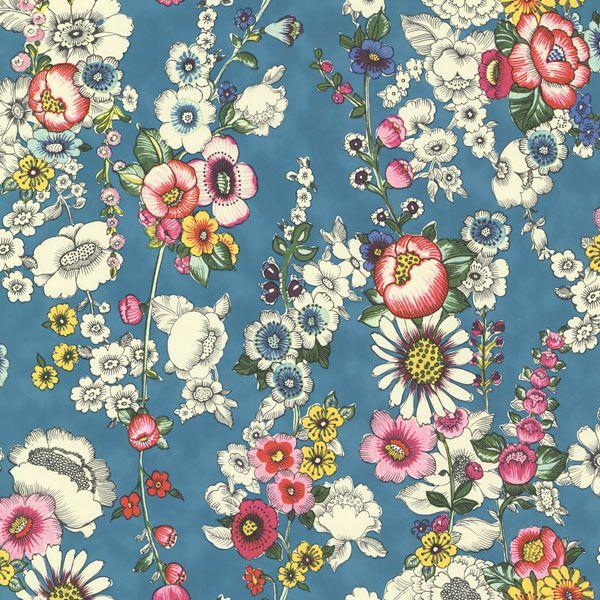 330203 Aqua Vivid Floral - Eivissa - Eijffinger Wallpaper