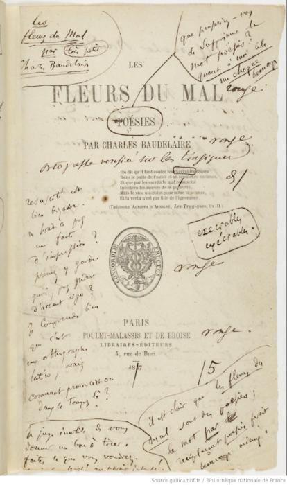 Baudelaire Les Fleurs du mal (1857) - Les Fleurs du mal est le titre d'un recueil de poèmes en vers de Charles Baudelaire, englobant la quasi-totalité de sa production poétique (1840 - 1867). C'est l'une des œuvres majeures de la poésie moderne. Ses quelques 150 pièces rompent avec le style convenu en usage jusqu'alors. Elles mêlent langage savant et termes du parler quotidien.