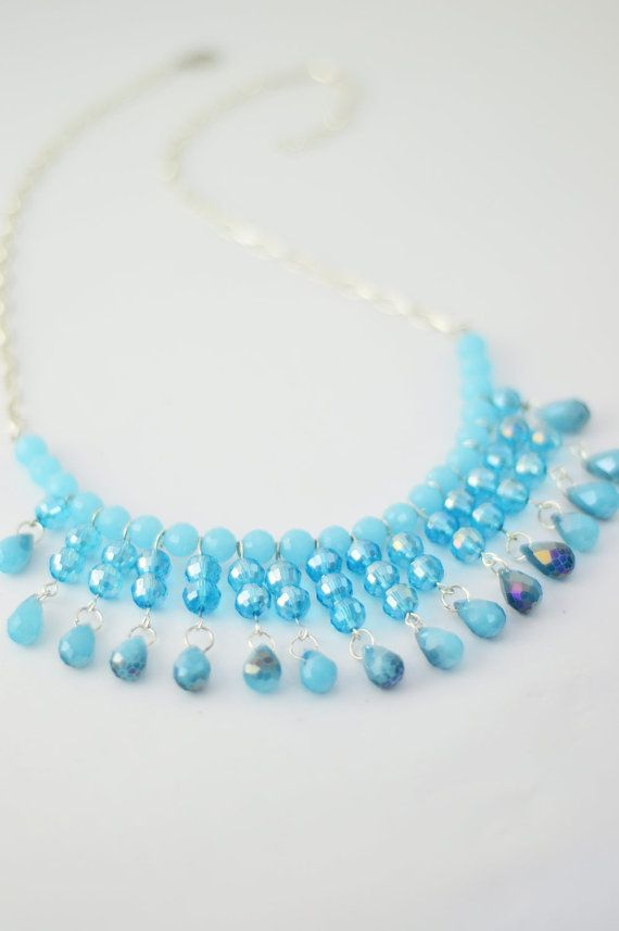 FREE SHIPPING Sky Blue Statement Necklace, Silver Plated Necklace, Beaded Jewelry, Women Accessory, Boho Necklace, Gift For Her