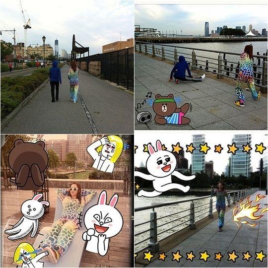 """ดูชุดเธอ ไม่น่ารักทำไม่ได้นะเนี่ย (-_-"""") 2NE1′s Dara and Minzy go jogging together"""