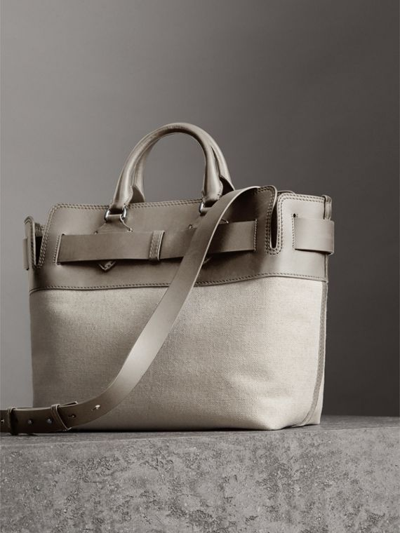 The Medium Canvas and Leather Belt Bag in Grey stone - Women   Burberry  United States - cell image 2 b834acd88c