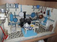 Antike Puppenküche, Herd mit Ofenrohr, Wandkaffeemühle, Möbel, sehr viel Zubehör