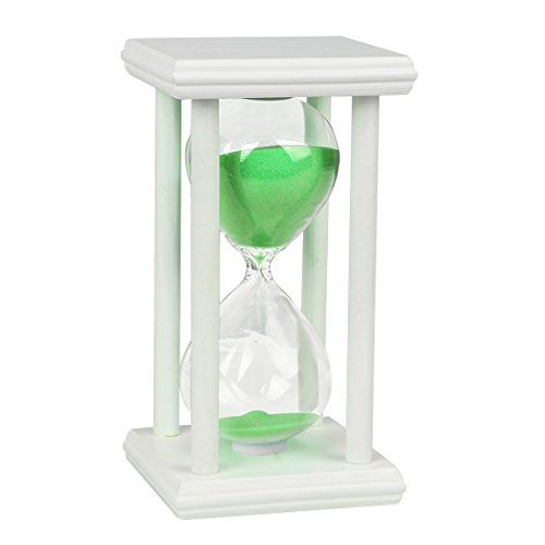 BOJIN Hourglass Sand Timer 15 Minute Sand Timer White Wood Stand Hourglass Timer Green Sand * Click on the image for additional details.