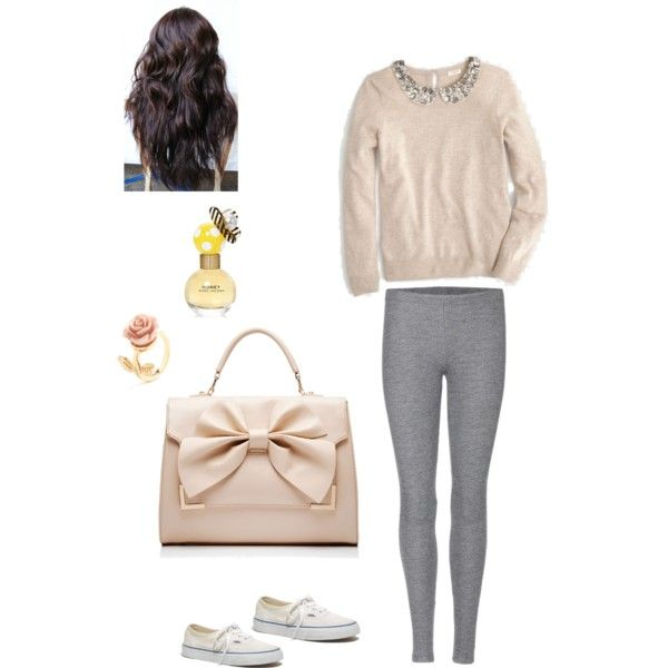 #warm #jumper #sparkly #collar #grey #leggings #vans #cute #bow #hand #bag #dark #long #hair #vintage #rosè #ring #mark #jacobs #honey #love #it by oliviahodgkins on Polyvore featuring Velvet, Madewell, Forever New, Marc Jacobs and vintage
