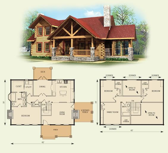 4 Bedroom Log Cabin Homes | Log home floor plans, Log cabin ...