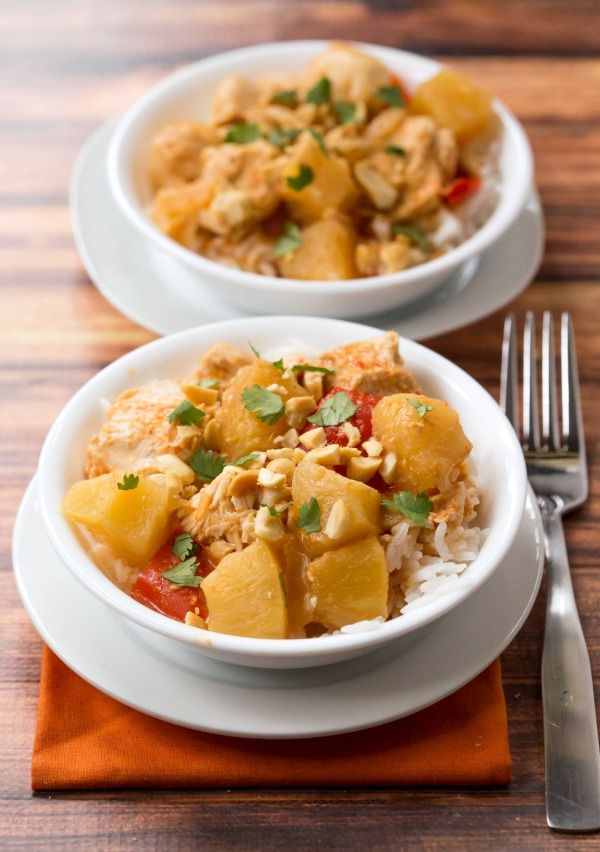 Slow Cooker Chicken Pineapple Curry | http://www.ihearteating.com | #crockpot