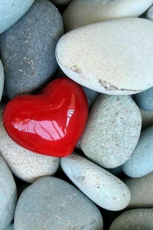 shiny red heart amidst gray stones