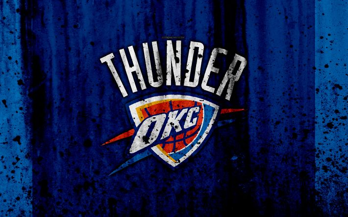Download wallpapers 4k, Oklahoma City Thunder, grunge, NBA, basketball club, Western Conference, USA, emblem, stone texture, basketball, Northwest Division