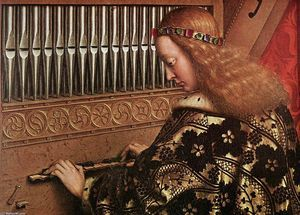 The Ghent Altarpiece: Angels Playing Music (detail) - (Jan Van Eyck)
