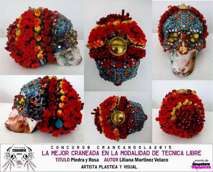 La obra ganadora en la modalidad de #tecnicalibre de la 3ra edición del #concursocraneandola evento de la marca @angelesmagenta #skull #skullart #colores #calavera
