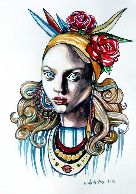 Fashion Illustration, Gypsy, Watercolour